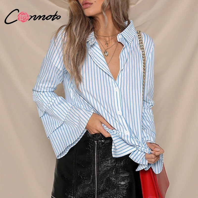 cdc6f32404 Conmoto Layered Flare Sleeve Blouse Shirt Women Autumn Striped White Blue  Blouse Split Button Blouse Tops