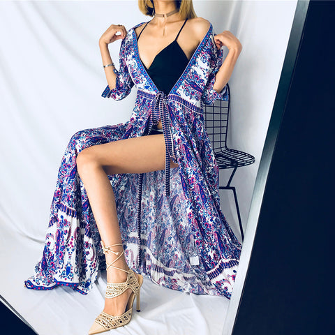 2125050faa2 2019 Summer Boho Vintage Floral Print Pleated Sashes Wrap Long Dress  Fashion Women V Neck Beach Long Party Dresses Vestidos