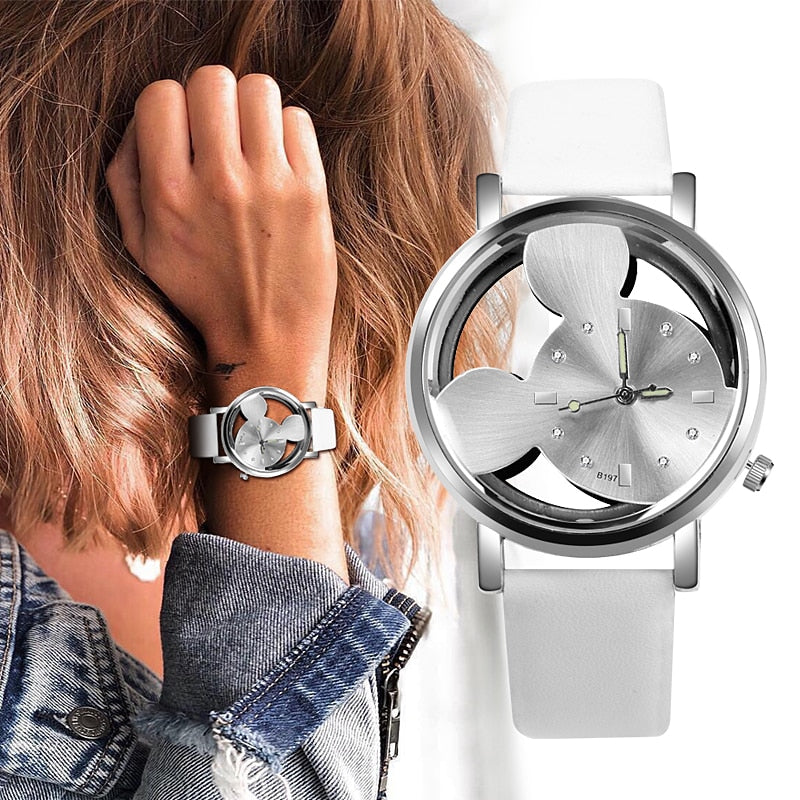 Relojes 2019 High Quality Mickey Mouse Women Watch Silver Metal Mesh Band Transparent Hollow White Dial Dress Quartz Watches Watches