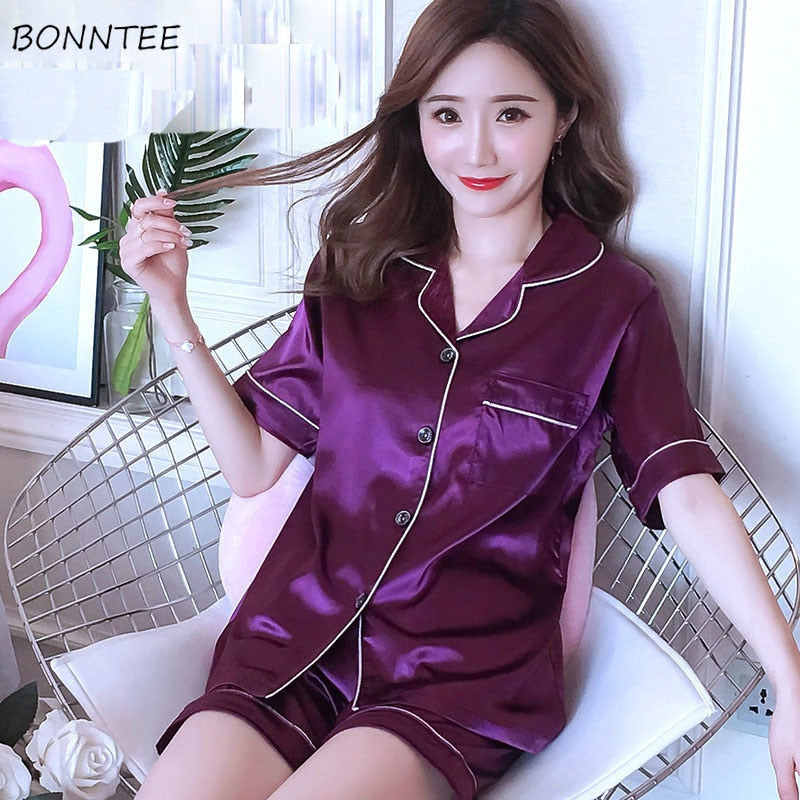 Pajama Sets Women Sweet Elegant Printed Korean Style Womens Pajamas Short Sleeve Soft Thin Single Breasted Trendy Breathable