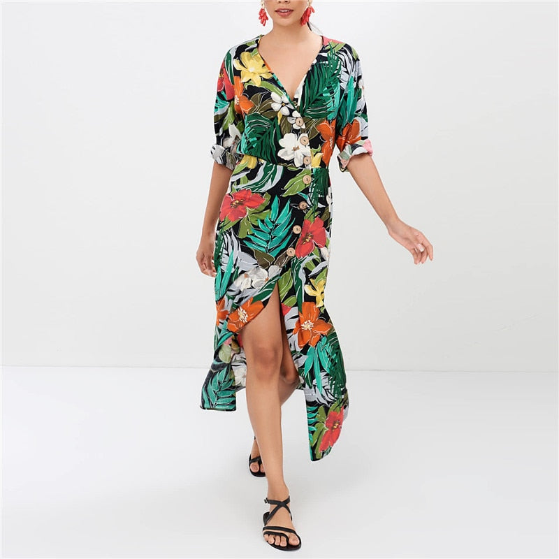 99c8d12446a27 Floral Print Chiffon Dress 2019 Spring Summer Bohemian Maxi Dress Women  Sexy V-Neck Elegant Long Beach Party Dresses Robe Femme