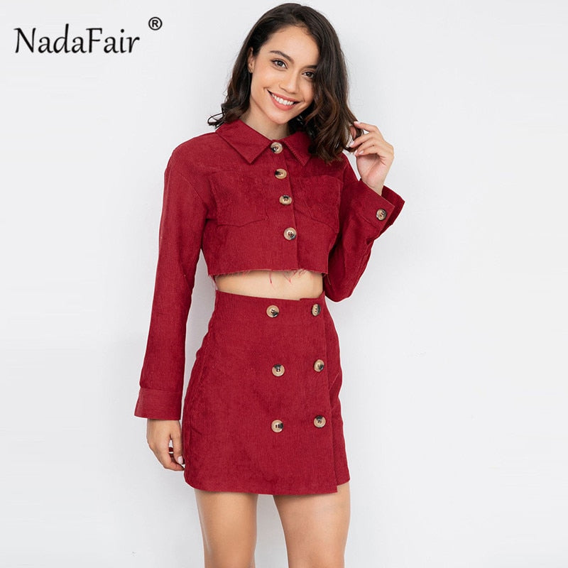 Nadafair winter corduroy elegant two piece set women long sleeve loose crop tops double-breasted high waist bodycon wrap skirts