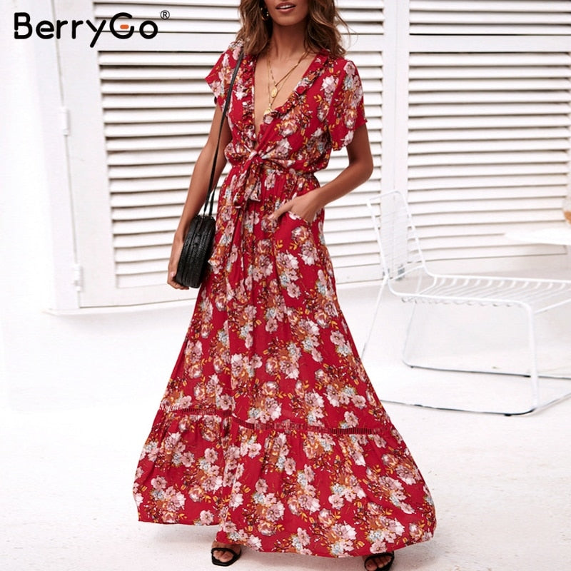 79980f7ac793 BerryGo Sexy deep v neck floral print dress women Boho bow tie red maxi  dresses Summer