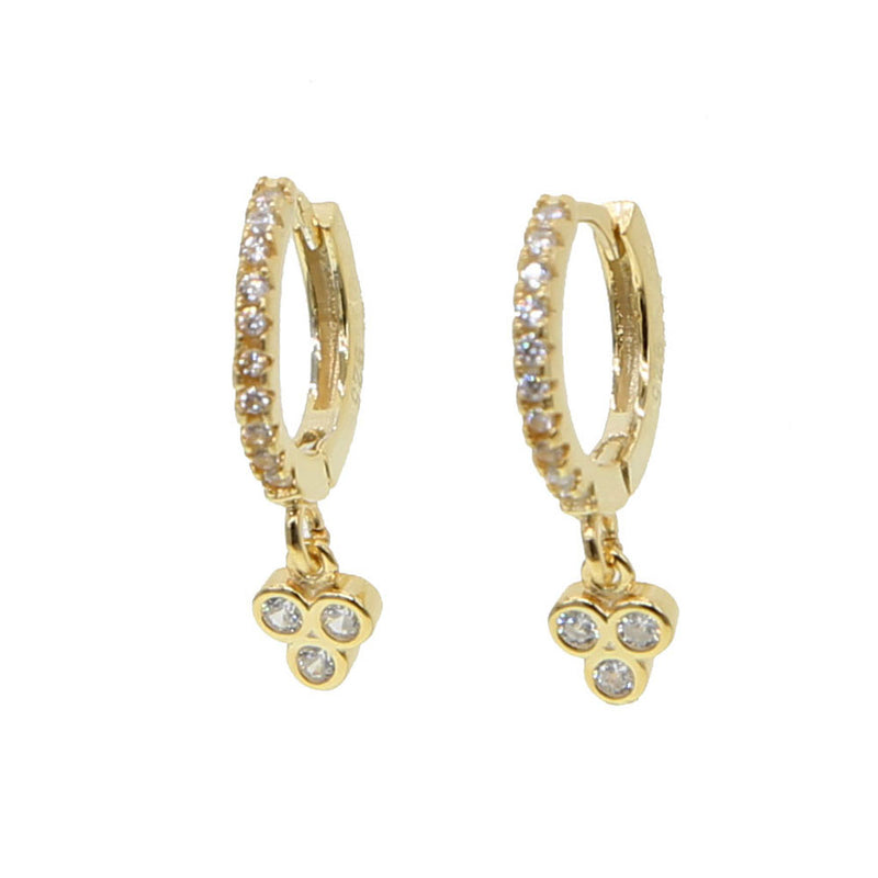 65efd8d7b New fashion delicate 925 Sterling Silver paved tiny CZ three stone dots  hoop Earrings For lovely