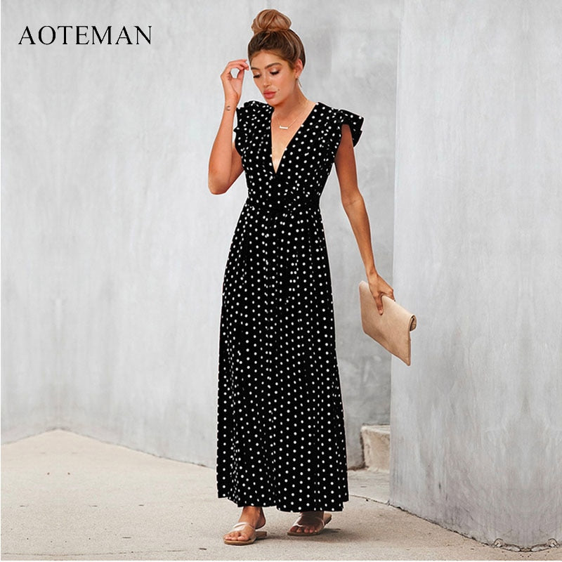 c6b4d18bcdf AOTEMAN Summer Dress Women 2019 Sexy V-Neck A-Line Sashes Dot Black Beach