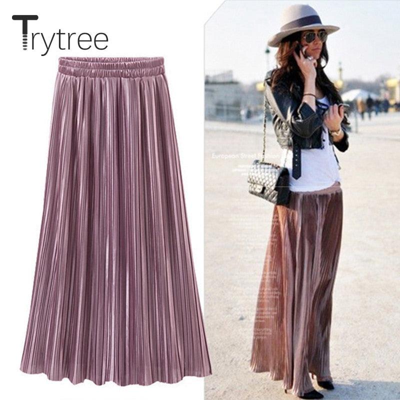 b2409823cb Spring Summer Pleated Skirt Womens Vintage High Waist Skirt Solid Long  Skirts New Fashion Metallic Skirt