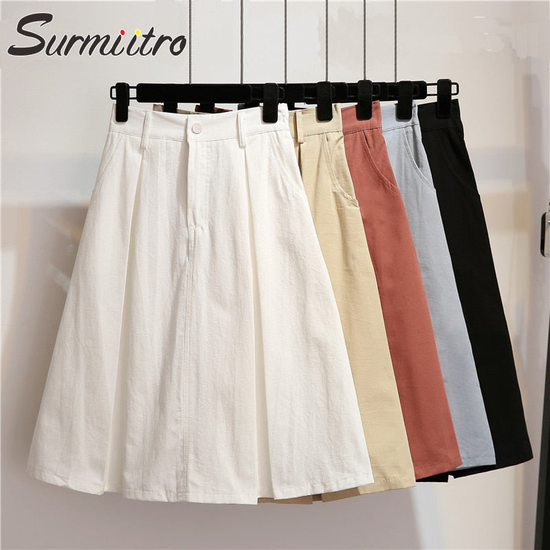 Surmiitro Solid Midi Skirt Women 2019 Spring Summer Casual Knee Length High Waist School Skirt Red Blue Black White A-line Skirt