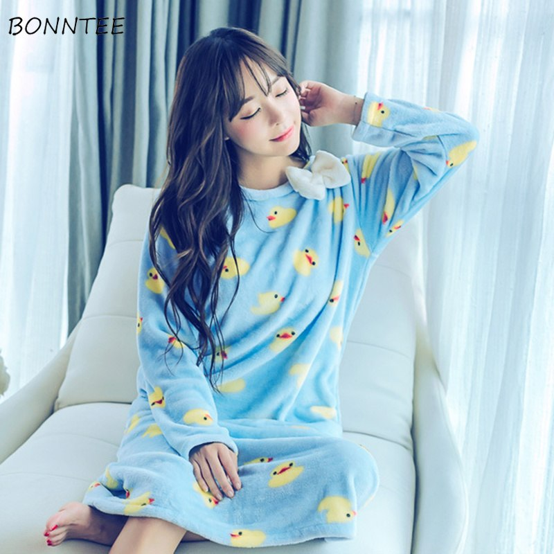 dd686a7cb5 Nightgowns Women Winter Kawaii Sleepwear Flannel Nightdress Lovely Thicken  Bow Cartoon Nightgown Womens Nightwear Trendy Warm