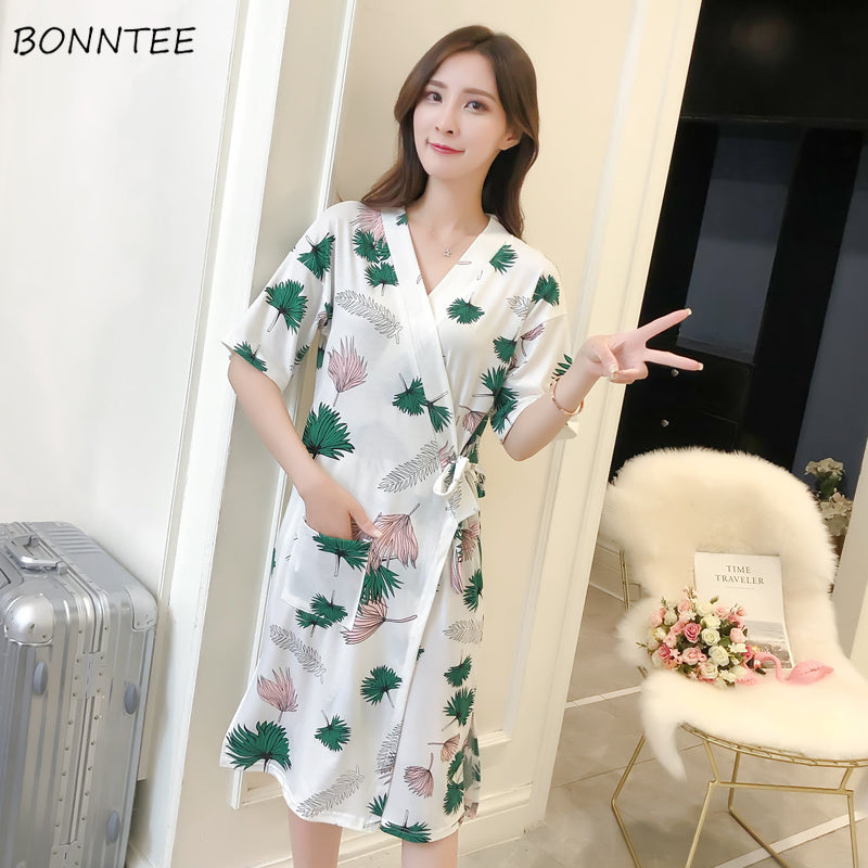 Robes Women Kimono Cotton Sleepwear Trendy Elegant Printing Leisure Bathrobe Floral Short Sleeve Robe Nightwear Womens Summer