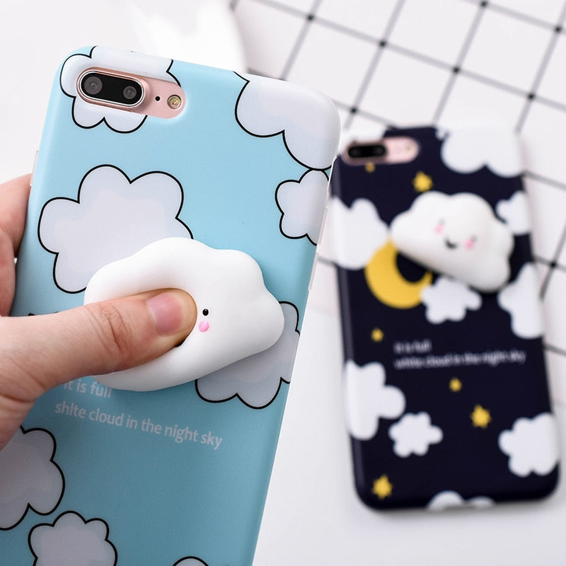online store 8337c ccc8c Lovely 3D Cute Soft Silicone Cartoon Cat White clouds Squishy phone case  for iPhone 5 5S SE 6 6S 7 7 8 plus Animal Kitty Cover