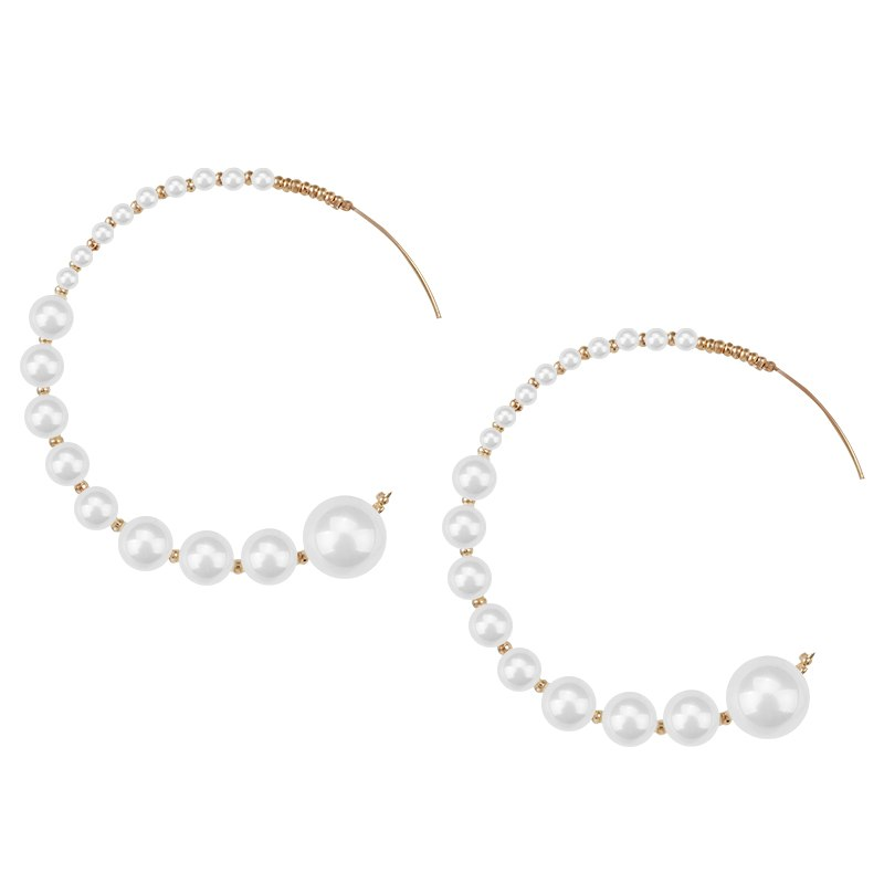 0ffc56c4ff593 AENSOA Korea Sweet Simple Pearl Big Round C Shape Hoop Earrings For Women  Minimalist Large Circle Earrings Charming Jewelry Gift