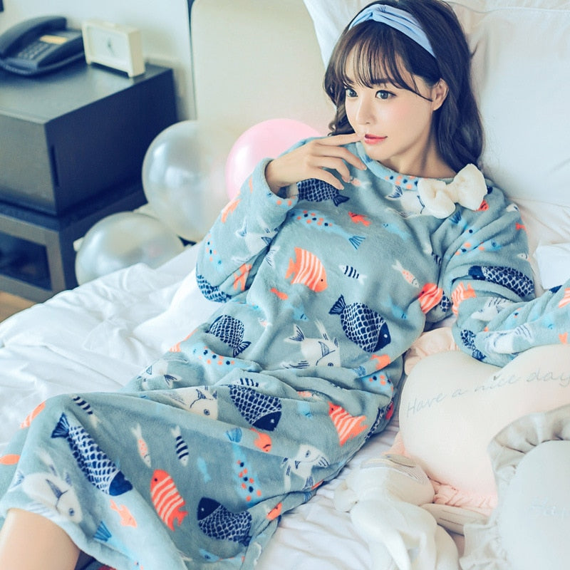 New Fashion Lady Sweet Womens Thicken Warm Women Winter Night Skirt Leisure Home Clothes Long Sleeve Flannel NIghtgown Sleepwear