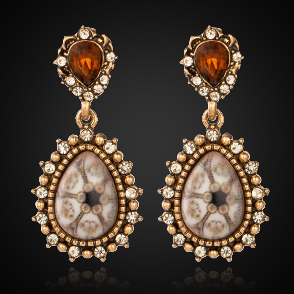 EXYNLON 2019 New Rhinestone earrings Fashion women's and girls' jewelry Natural Stone dangler classic eardrop Popular alloy