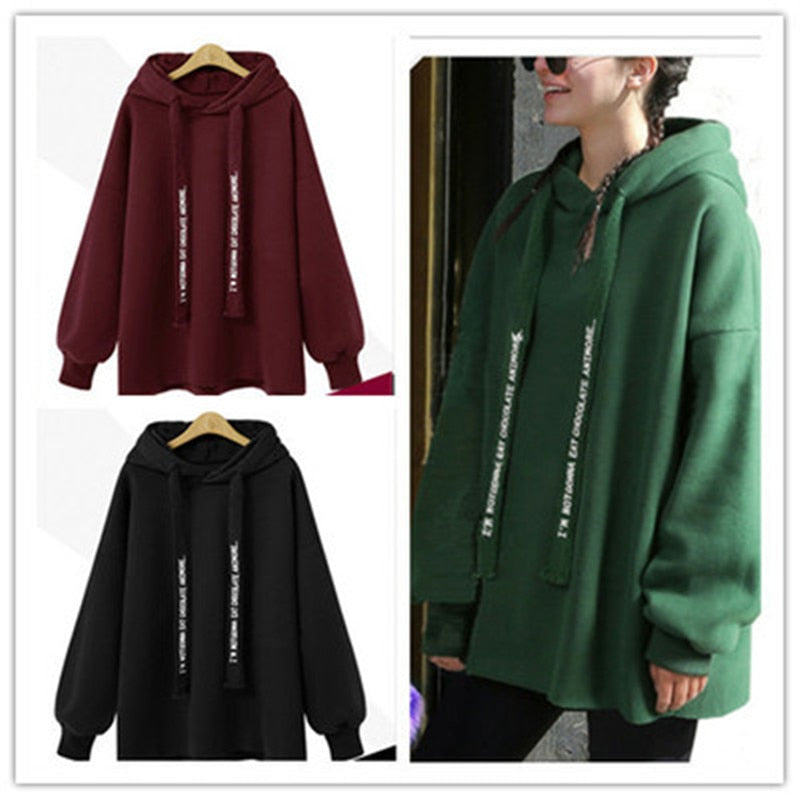 2018 Women New Solid Color Autumn Winter Casual Pullover Loose Long Sleeve Hoodies
