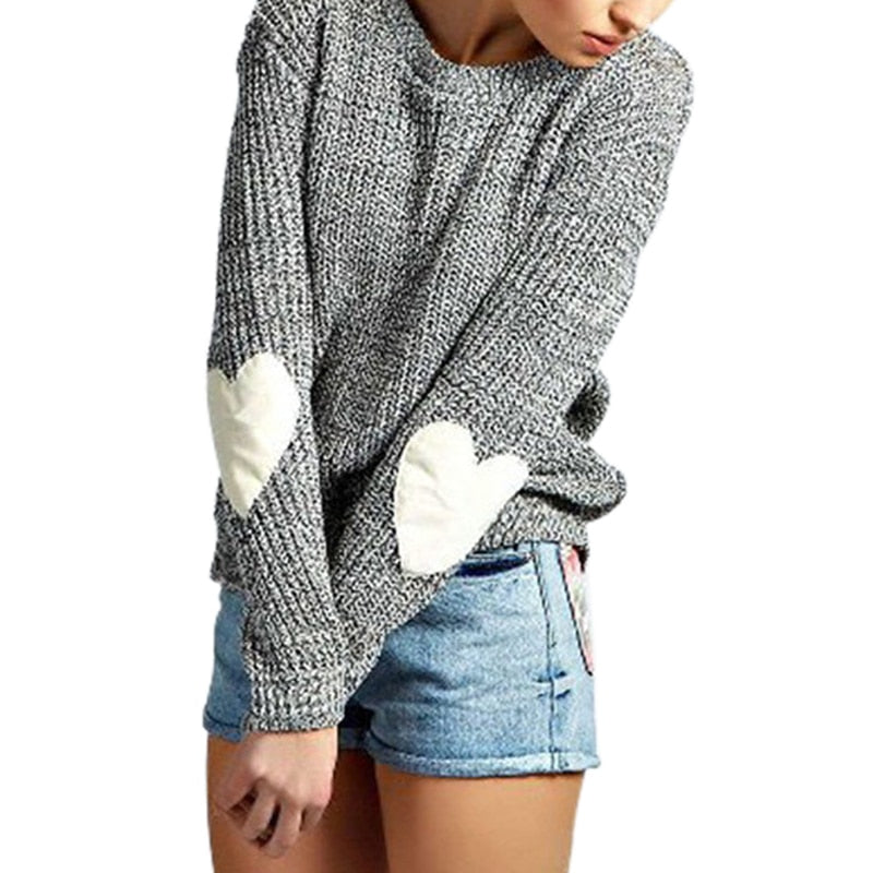 White Autumn Women Sweater O Neck Pullover Heart  Long Sleeve Patchwork Tops Cute Knitted SweatersYoung Girls' Grey Shirts GV898