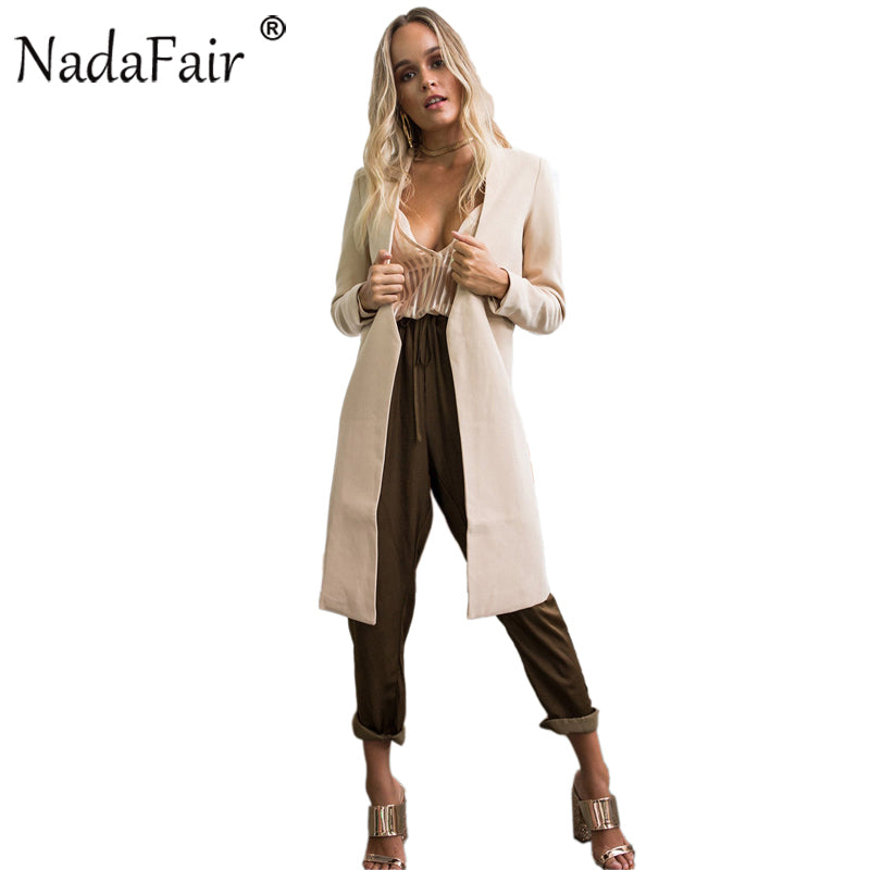 Nadafair Open Stitch Long Sleeve Casual Women Autumn Winter Trench Coat Long Fashion Slim Outwear