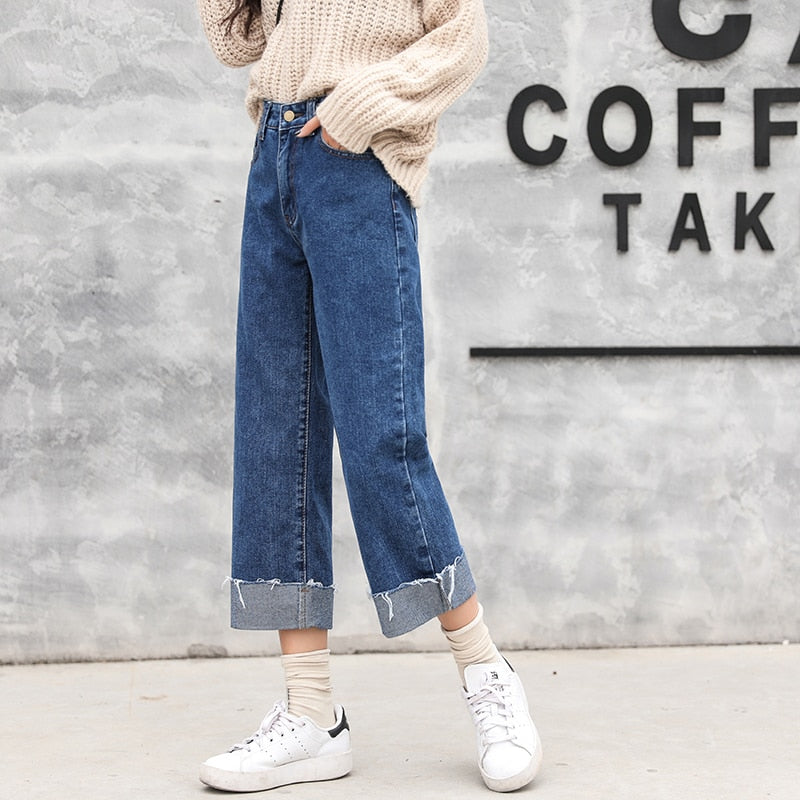 Denim Blue High Waist Straight Loose Simple Solid 2018 New Arrival All Match Female  Ankle-length Wide Leg Pants