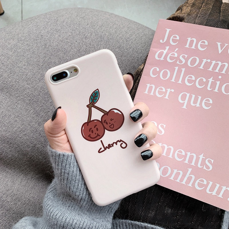 Cute Cartoon Cherry Painting Phone Case For iphone XS Max XR Case For iphone X 8 7 6S plus 6 Cover Fashion Soft IMD Cases Fundas