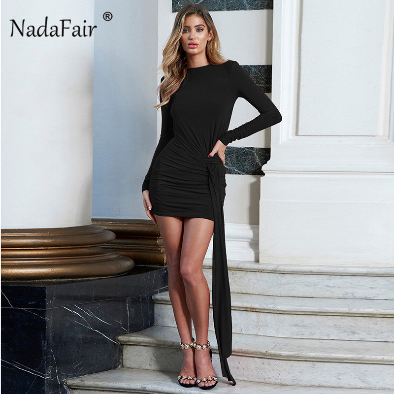 4cad61e6e8 long sleeve spring bodycon mini dress women backless ruched lace up sexy  club party dress white