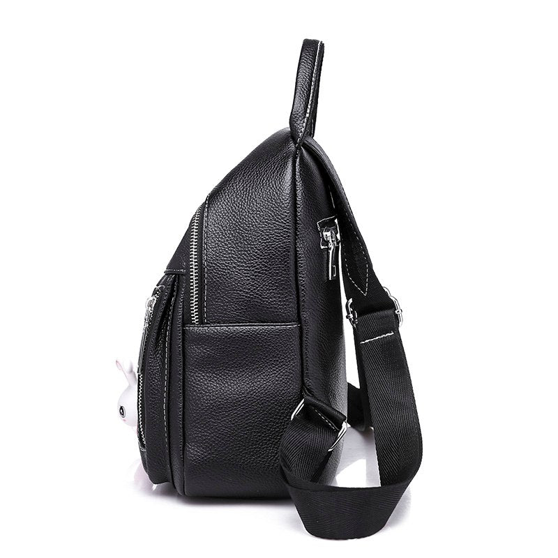 3ec262b38f9 Women Fashion Leather Backpack School Backpacks for Teenage Girls High  Quality Lady Pink Rabbit Pendant Student Shoulder Bag