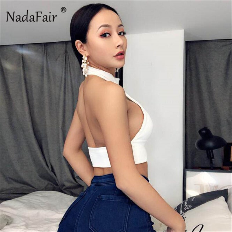 81a86ec6426 Nadafair white black rib knitted crop tops women 2019 summer backless  halter sexy club bodycon cropped
