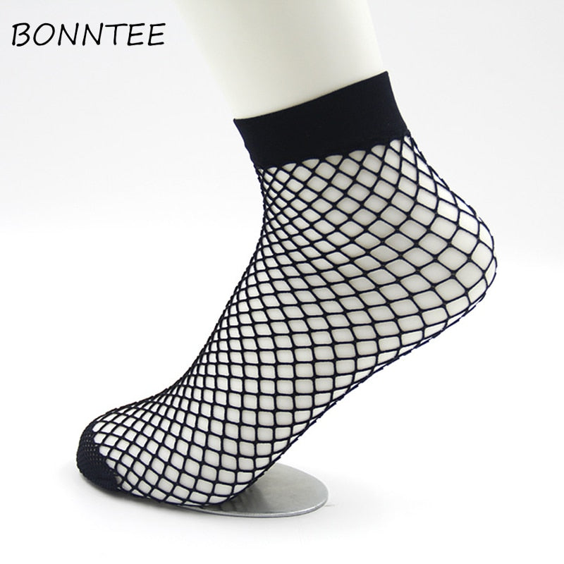 Socks Women Hollow Sexy Breathable Mesh Harajuku Fashion Womens Nets Sock Chic All-match Summer Ladies Solid Casual Thin Trendy