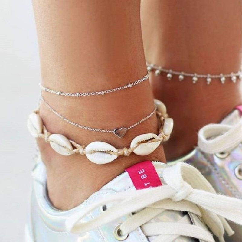 Tocona Summer Beach Heart Shell Rope Layered Anklets for Women String Shell Pendant Anklet Bracelet Barefoot Jewelry 6974