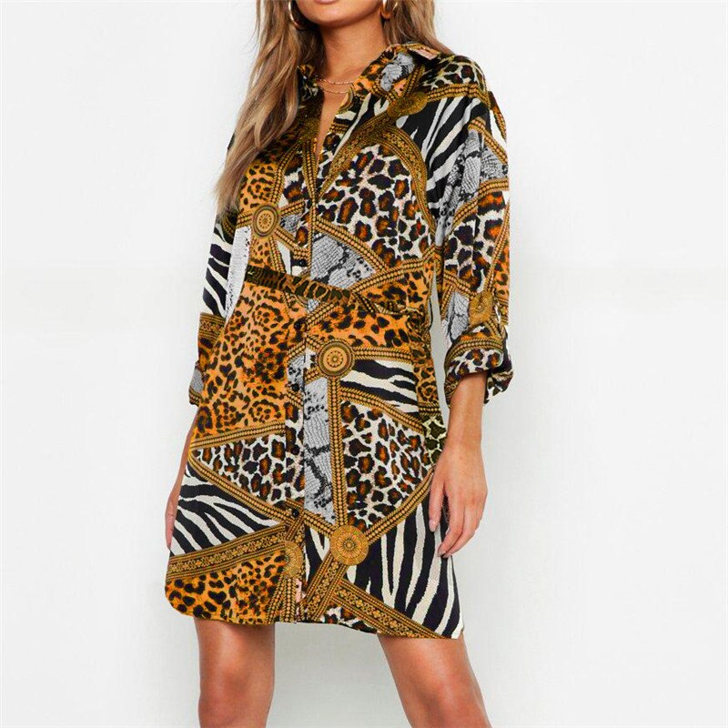 a45b168cf4c9 Summer Chiffon Dress Women Leopard Snake Sexy Mini Party Dress Vintage Animal  Print Turn-Down