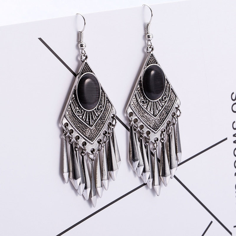 Women's Ethnic Earrings Bohemian Vintage black cat's eye stone Alloy Leaf Tassel Earring Fashion Charm jewelry