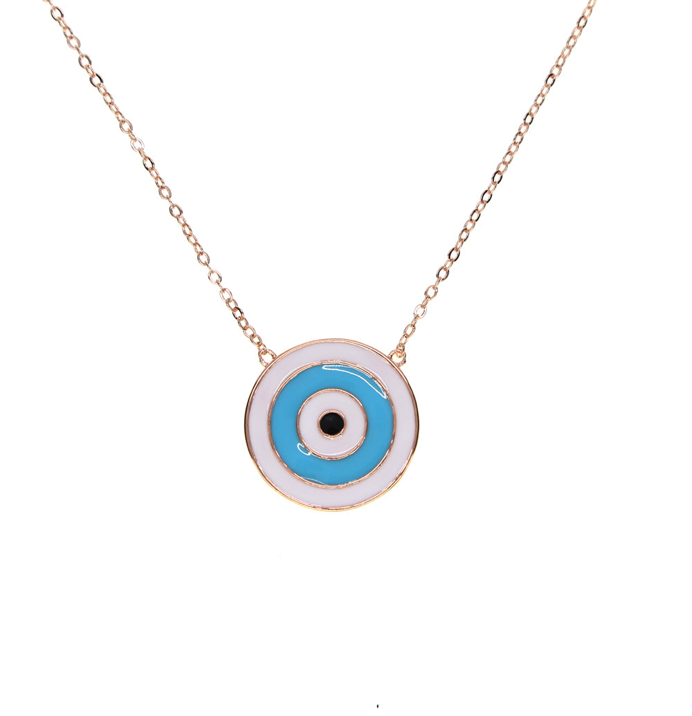 2017 big round disco pendant classic fashion jewelry enamel Turkish evil eye women girl popular pendant necklace