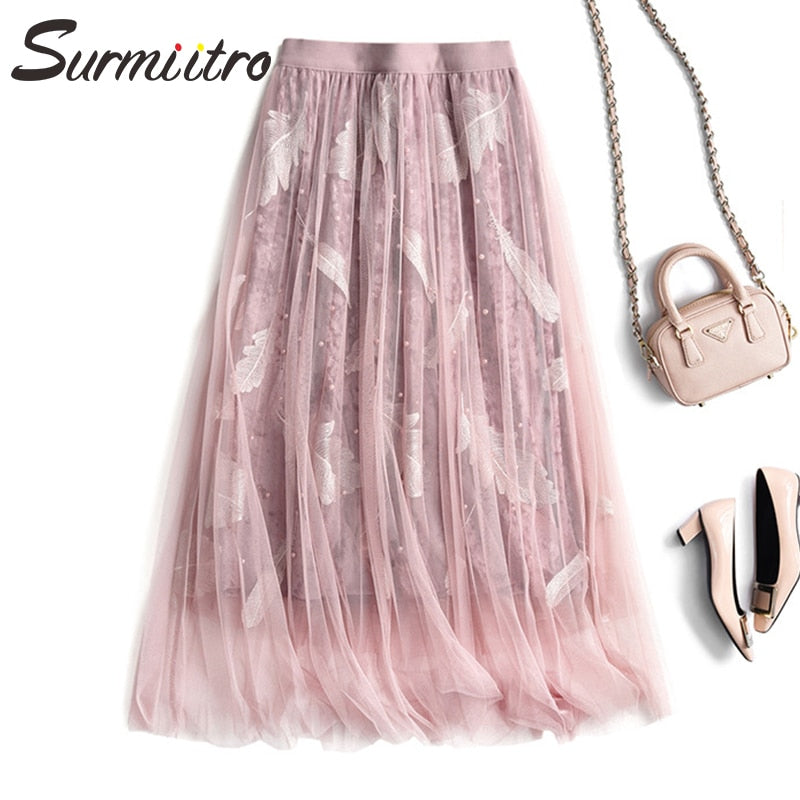 Surmiitro Beading Velvet Tulle Skirt Women 2019 Autumn Winter Fashion Korean Long Pleated Skirt Female A-line High Waist Skirt
