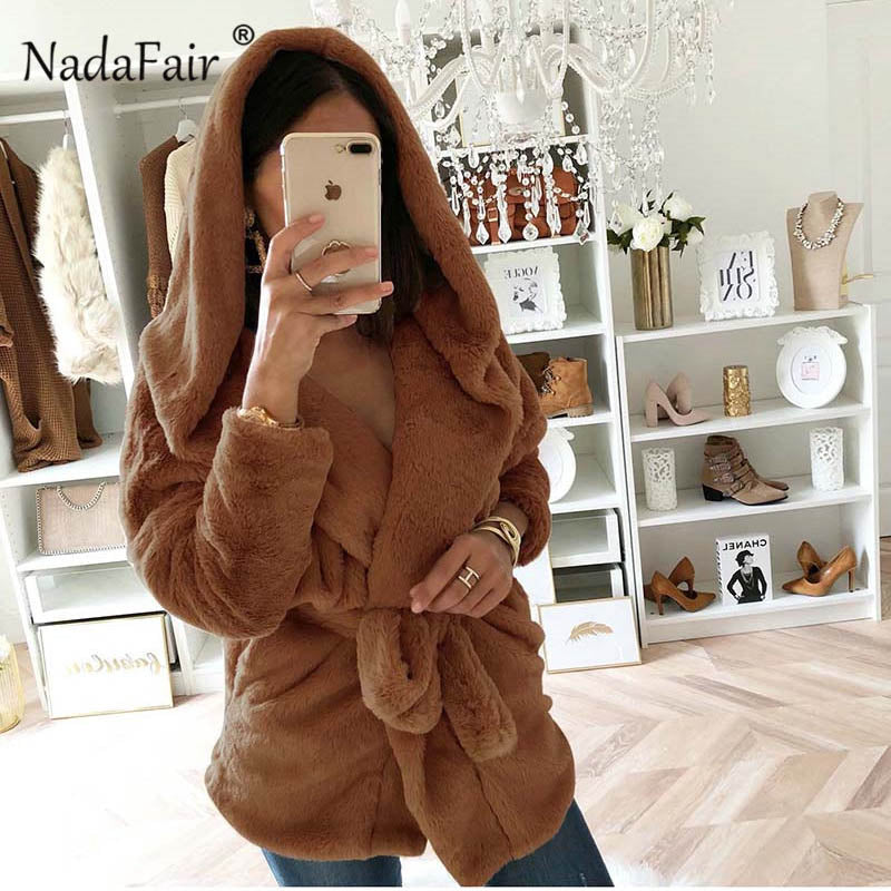 Nadafair winter warm plush jacket coat women solid belt faux fur hooded overcoat female open stitch autumn casual outerwear