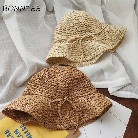 4c9751574cd Women Hats Simple Solid Bow Kawaii Sun Shade Chic Summer Beach Hat Casual  Womens Korean Breathable Fashion New Style Ladies Cute