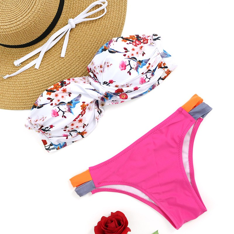 e85724df9f PLAVKY 2019 Sexy White Floral Twist Bandeau Biquini Swim Bathing Suit  Swimsuit Beachwear Swimwear Women Brazilian