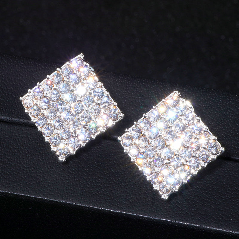 8461008a1bfed 2018 New Wedding Jewelry Design Silver Color Simple Square Crystal Earrings  Fashion Women Statement Stud Earrings Jewelry WX067