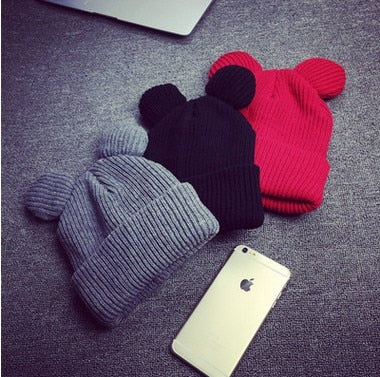 3 Colors Cute Knitted Hat Female Solid Beanies For Girls Acrylic Warm Horn Hat Winter Cap Women's Autumn Beanies With Cat Ear