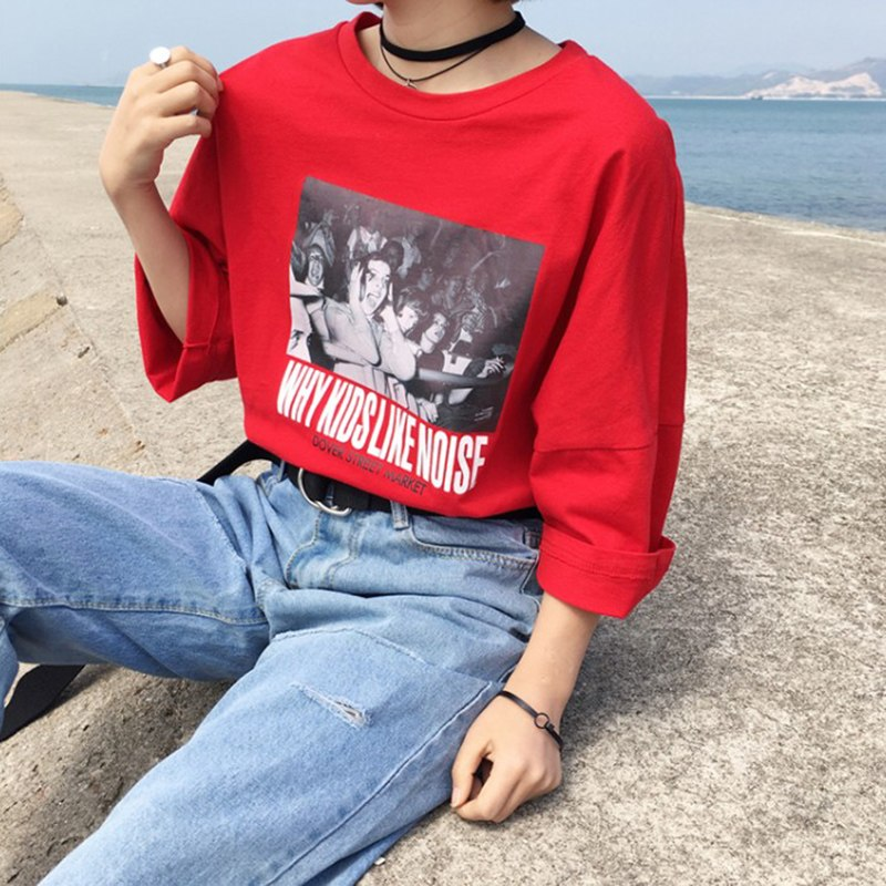 Summer New Women Korean Style T-shirt Females Character Printed Top Womens T -shirts 88ebb0a50567