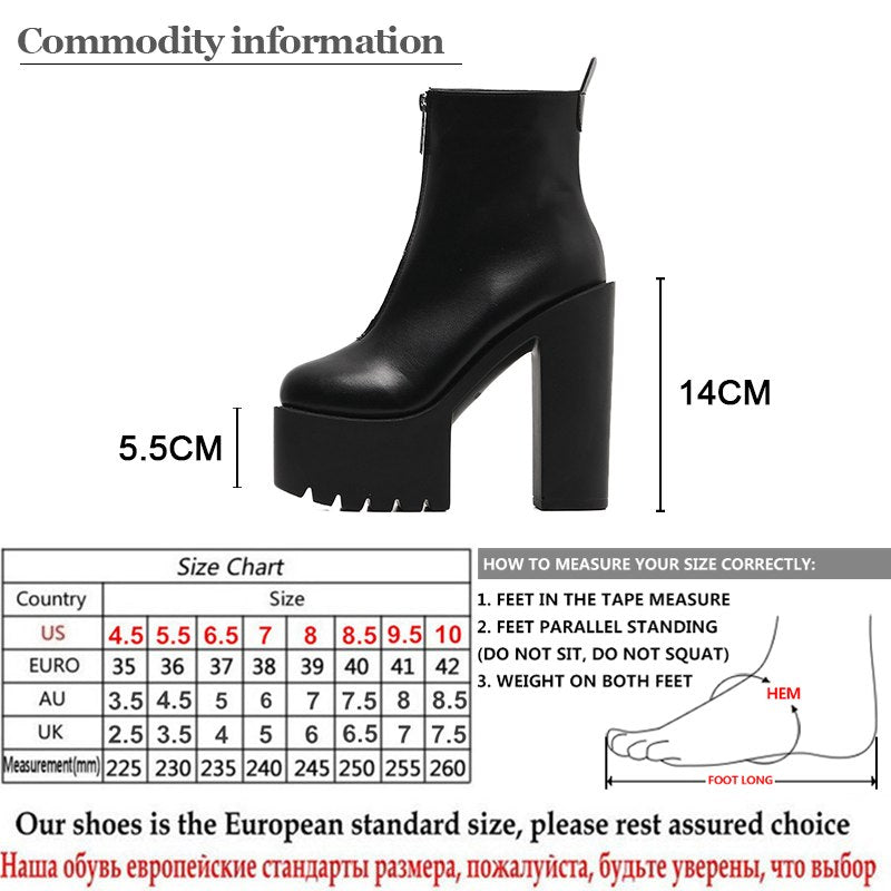 44dc6a62a18 Gdgydh 2019 Fashion Autumn Women Ankle Boots Leather Black Female High  Heels Shoes Ultra High Platform