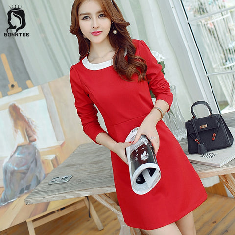 Women New Fashion Long Sleeve Dress Womens Trendy Patchwork Elegant Female Solid Color Dresses Females Slim Full Ladies Korean
