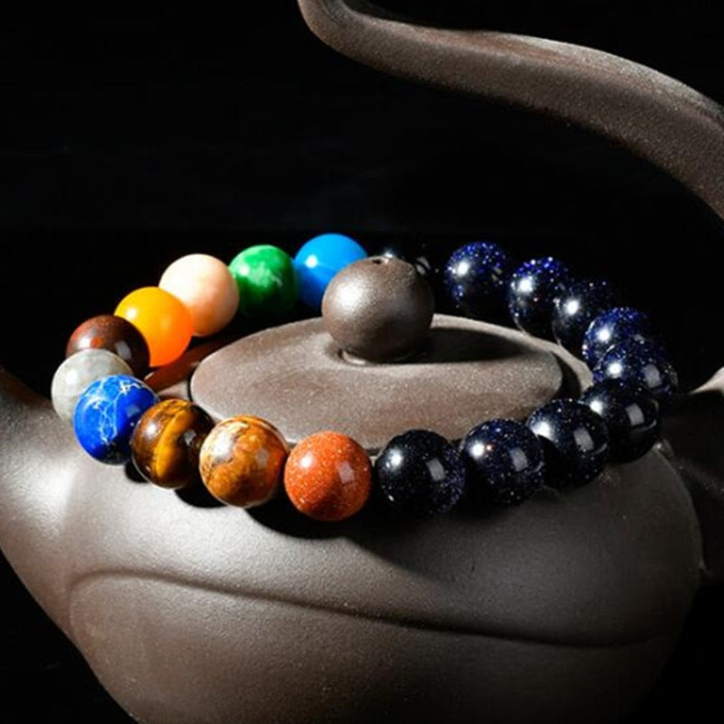Jewelry & Accessories Adjustable Size Handmade Universe Galaxy Eight Planets Solar System Guardian Stars Stones Beads Women Elastic Bracelets Bangles Exquisite Craftsmanship;
