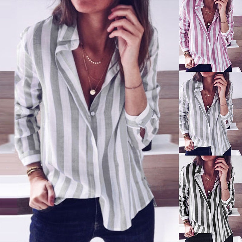 5e145b61785 Elegant Women Striped Shirt Casual Lapel Neck Long Sleeve Buttons Down Work  OL Blusas Top Plus