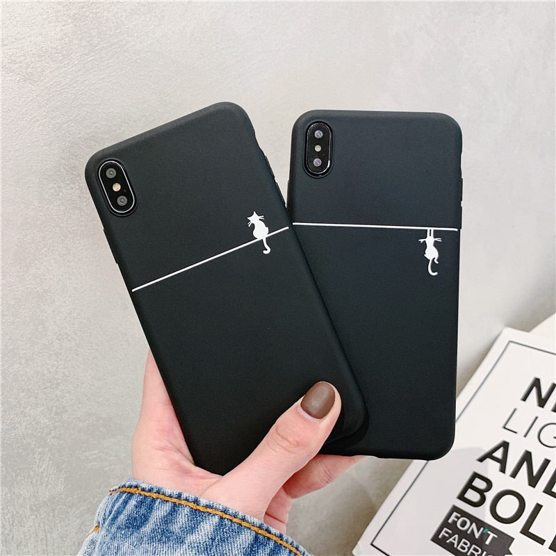 Cute Cat Printed Phone Case For iphone XS Max XR X XS Case For iphone 6 6s 7 8 plus Cover Fashion Simple Couple Matte Soft Cases