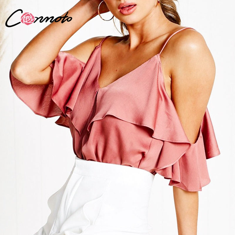 fb767340c9d796 Conmoto Sexy Off Shoulder Spaghetti Strap Women Tops and Blouse 2019 Summer  Casual Ruffle Satin Shirt