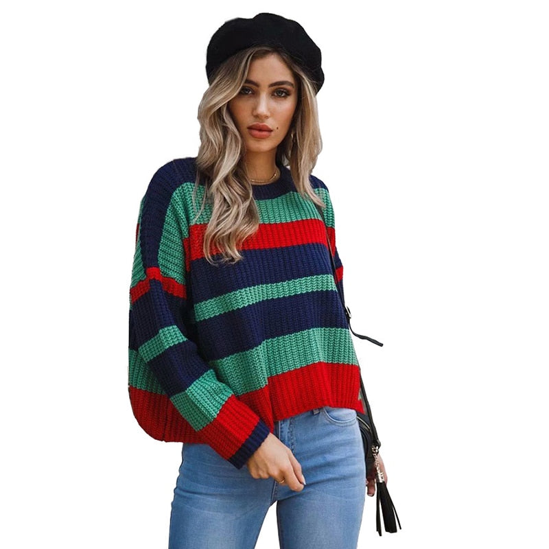 ZHYMIHRET 2018 Autumn Winter Striped Sweater For Women Casual O Neck Knitted Long Sleeve Patchwork Pullover Loose Pull Femme
