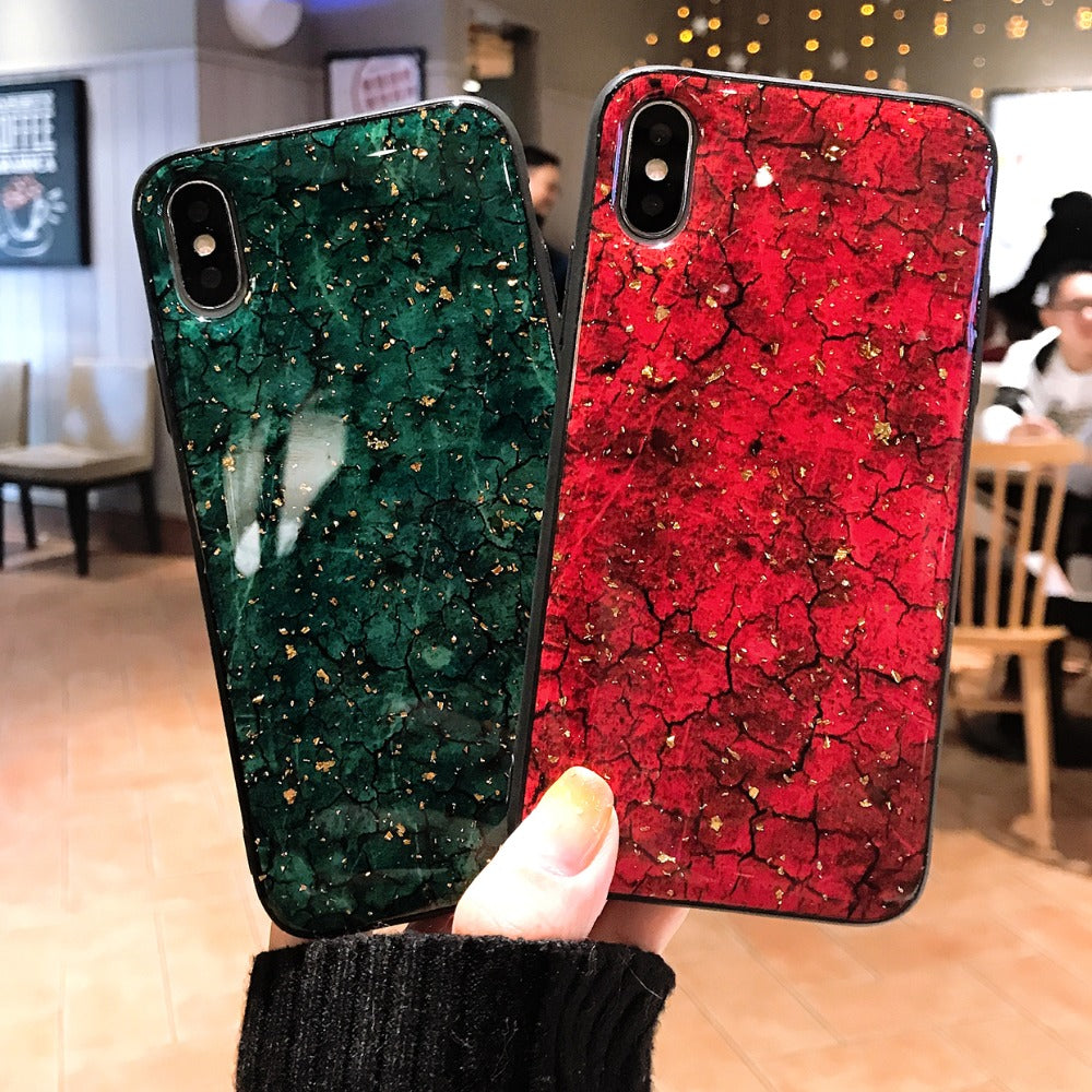 Bling Glitter Marble Phone Case For iPhone X XS Max XR Luxury Gold Foil Silicon Back Cover For iPhone 7 8 6 S 6S Plus Case Coque