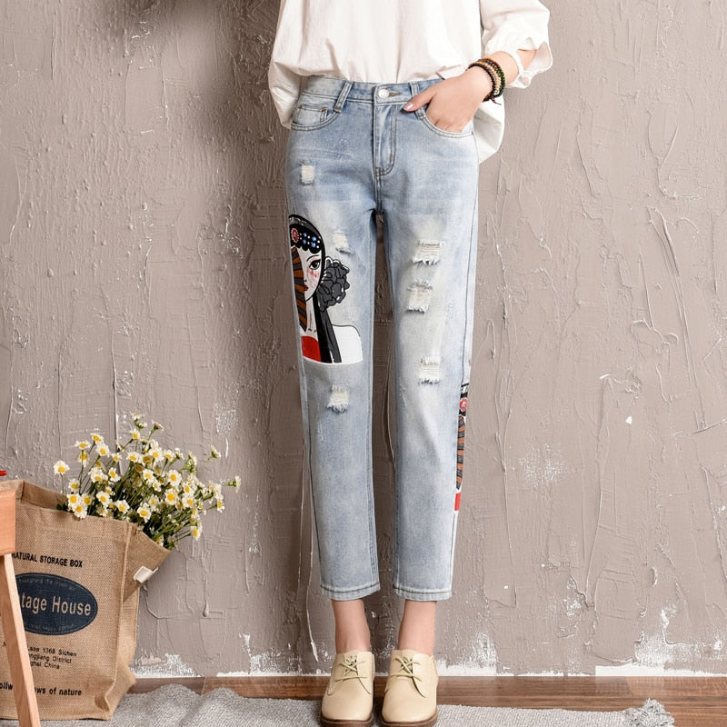 Hole Jeans For Women New Harajuku Pencil Jeans Embroidery Ripped Ankle Length BF Style Jean Female #2874