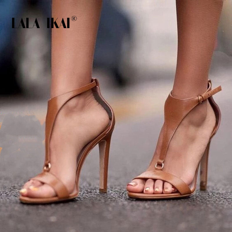 Summer Sandals For Women PU Leather Buckle Strap Ladies Sandals High Heel Gladiator Sandalie Female 014C3406-4