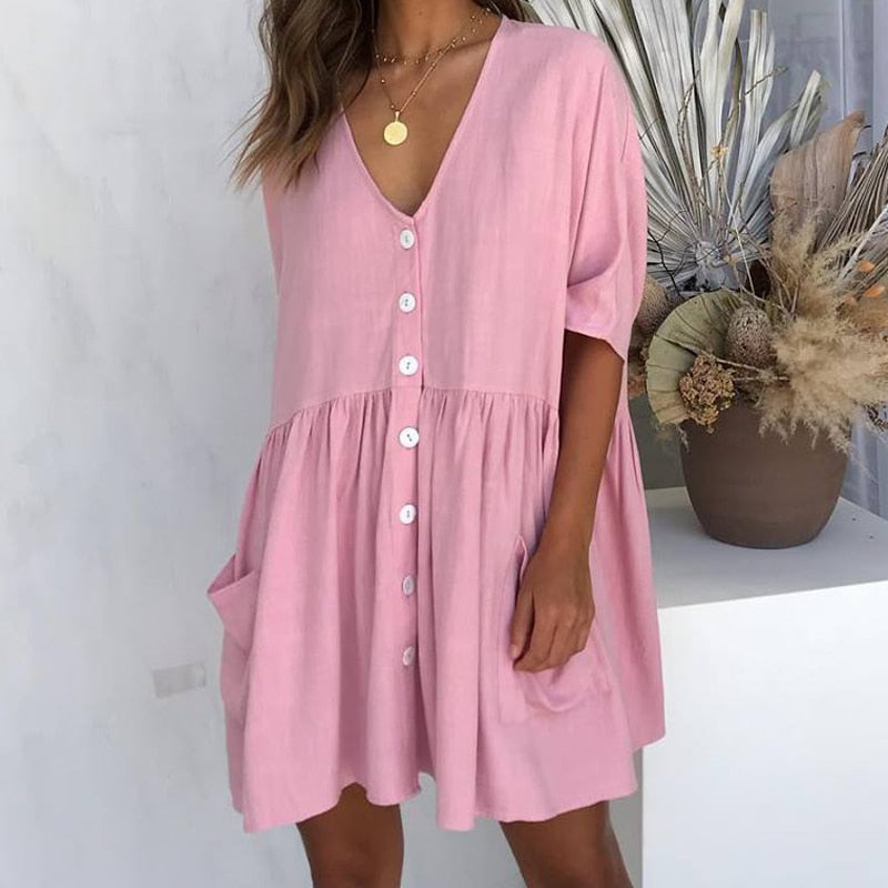 Women's Pockets Clothing Summer Dress Streetwear Half Sleeve V Neck Buttons Decorative Loose Casual Mini Dress Plus Size M0466