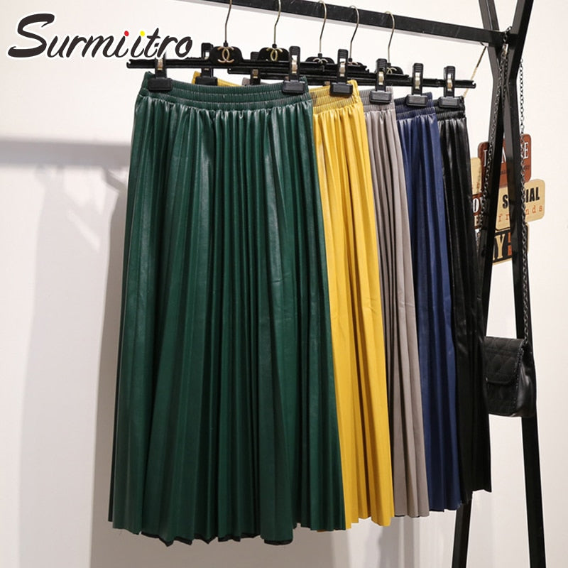 Surmiitro PU Skirt Women 2019 Autumn Winter Midi Long Korean Elegant Pleated High Waist Leather Skirt Female A line Office Skirt