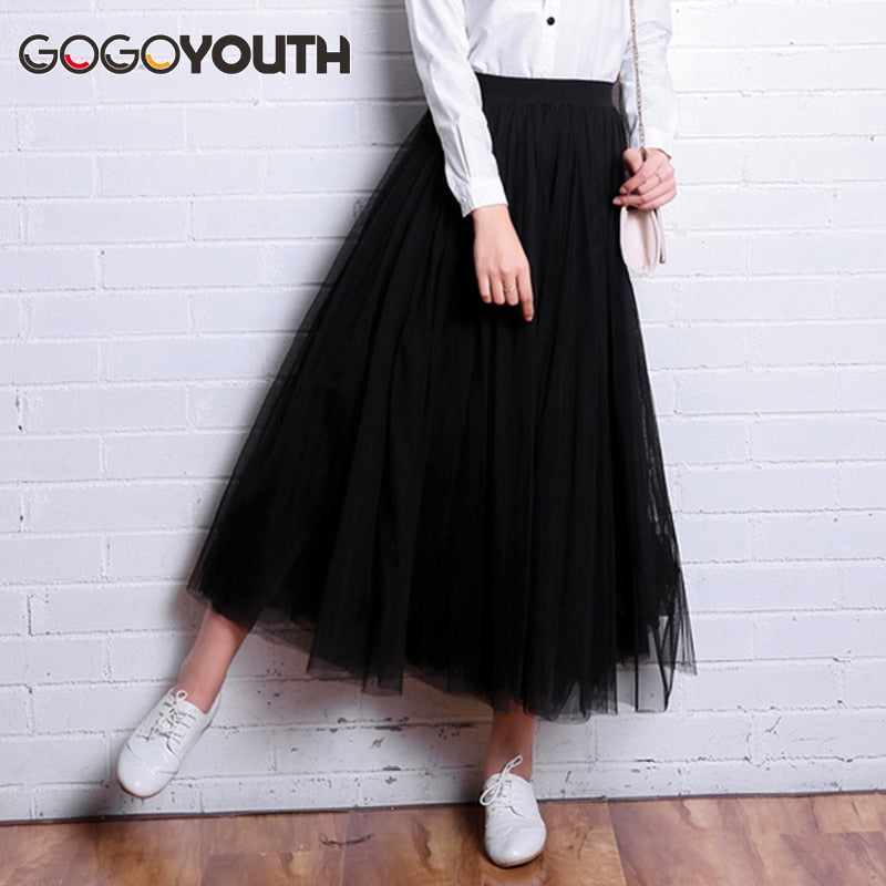 Gogoyouth Adult Tulle Skirt 2019 New Fashion 3 Layers Summer Long Skirts Womens Maxi Tutu Voile Sun School Skirt Female